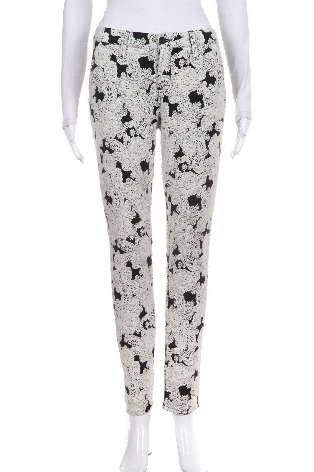 MOTHER The Looker Prep Pants Black White Embroidered Size 26