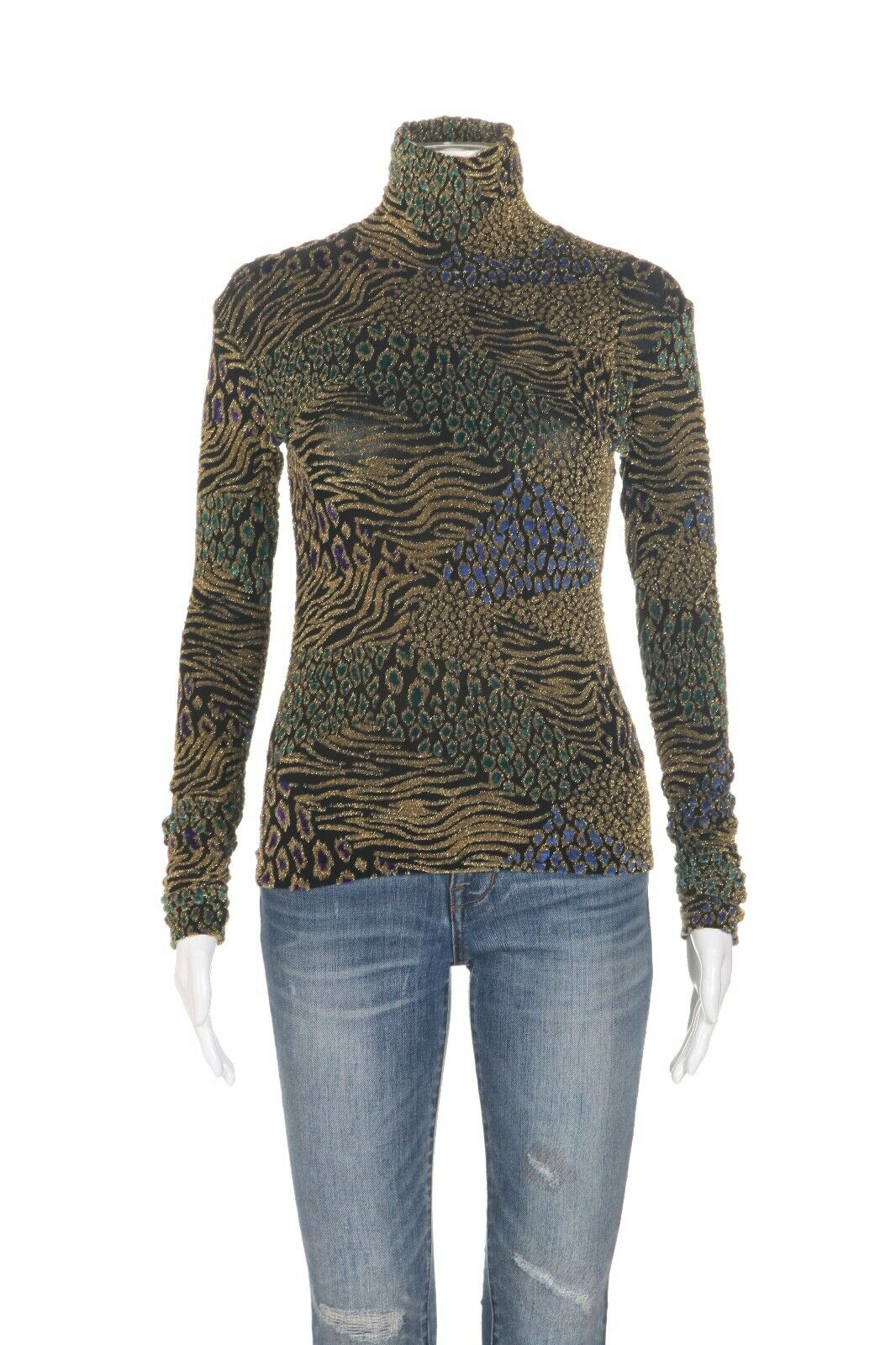 CAROLINE CONSTAS Metallic Long Sleeve Top Size M