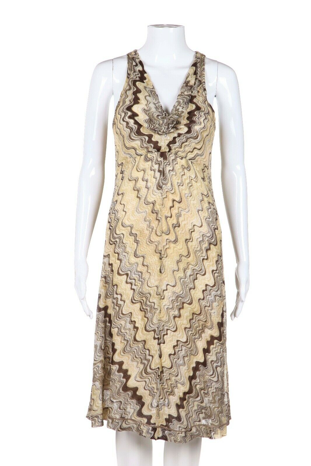 MISSONI Chevron Knit Cowl Neck Dress Size IT40 (4)