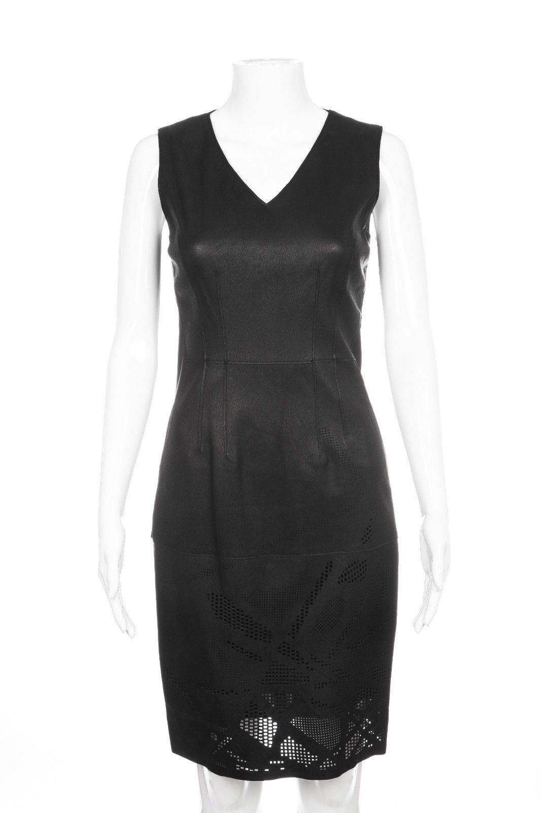 ELIE TAHARI Black Andrea Leather Laser Cut Out Dress Size 0 (New)
