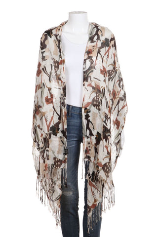 BRAZEN Cream Brown Printed Linen Blend Scarf Shawl