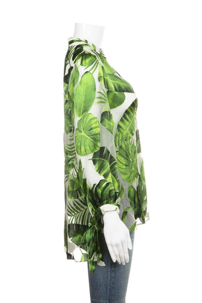 ALICE + OLIVIA Green Leaf Print Silk Blend Blouse Size S