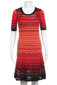 Red Orange Black Short Sleeve Knit  Dress Size IT40 / 4