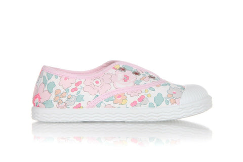 JACADI Pink Floral Sneakers Size 26 (9.5) New