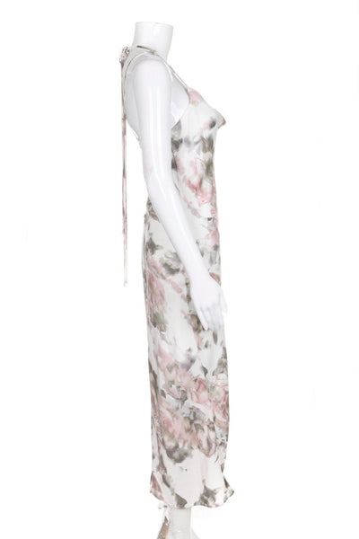 TOPSHOP Midi Slip Dress White Pink Floral Halter Size 10 (New)