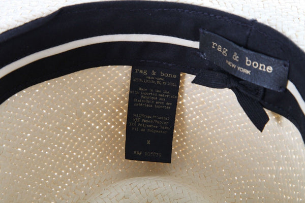 RAG & BONE Package Straw Fedora Hat Brown Knot Ribbon Size M