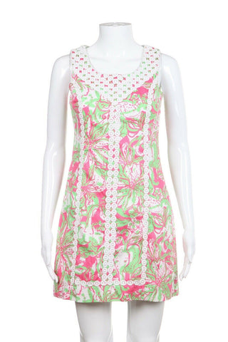 Pink Green Printed Dress with Embroidery Size 0