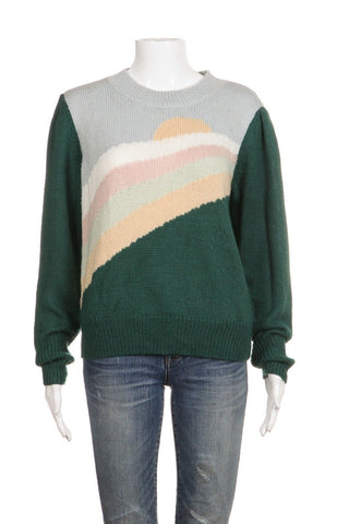 WILDFOX Graphic Knit Sunset Sweater Size M