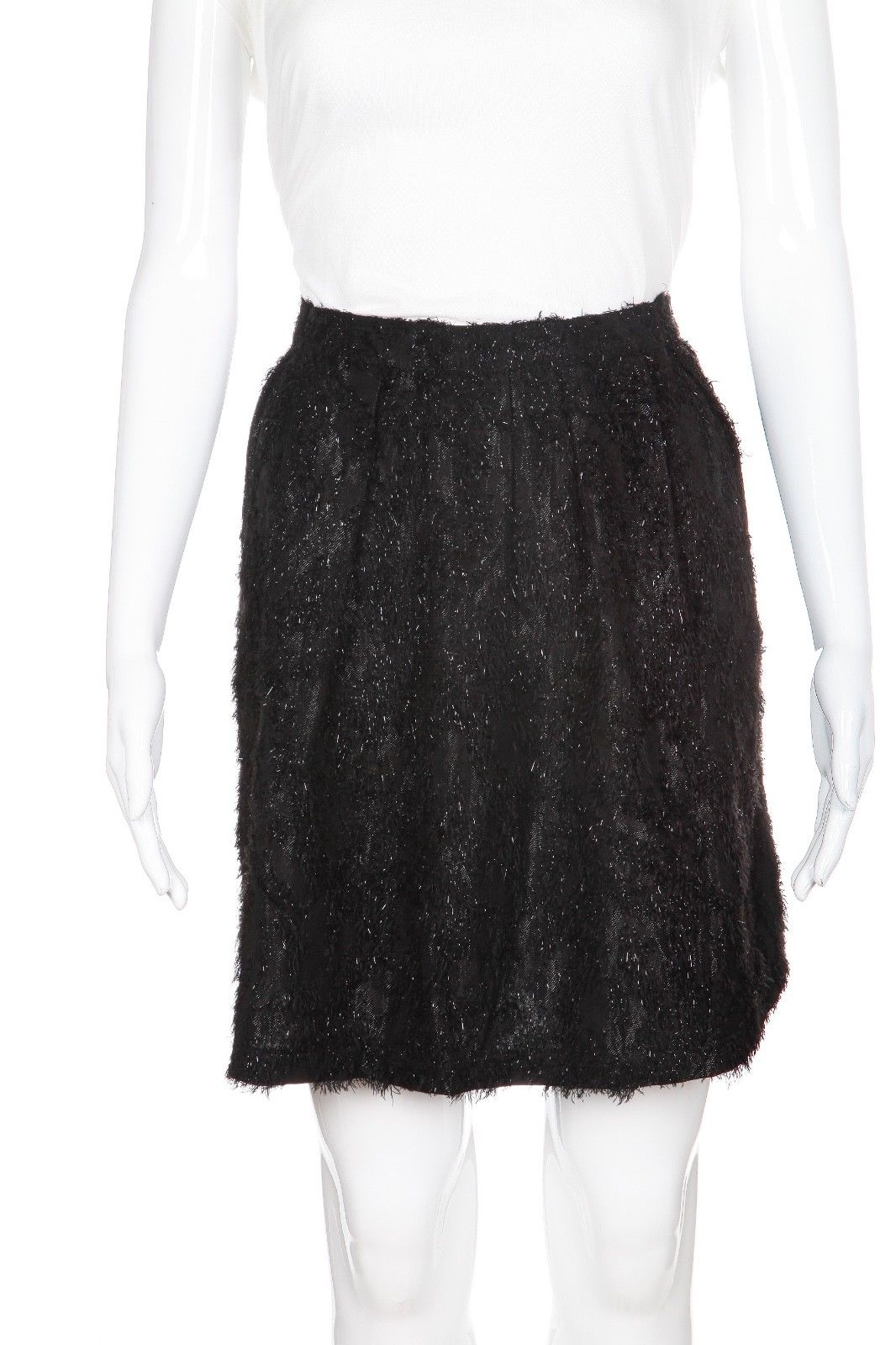 TOPSHOP Black Metallic Skater Flared Skirt Size 10