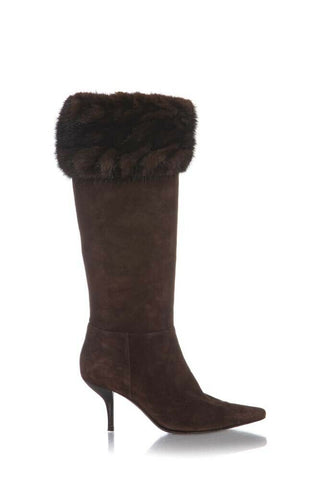 Brown Fur Trim Knee High Suede Leather Boots Pointed Toe Size 38
