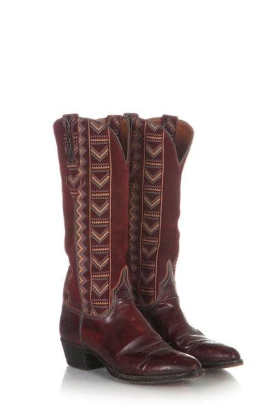 LUCCHESE Cowboy Boots Red Suede Leather Embroidered Size 7