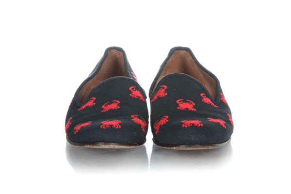 STUBBS & WOOTTON Navy Blue Red Crab Embroidery Loafers Size 9