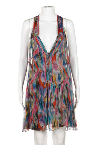 ERICA DAVIES Silk Multi-Color Dress Size 4