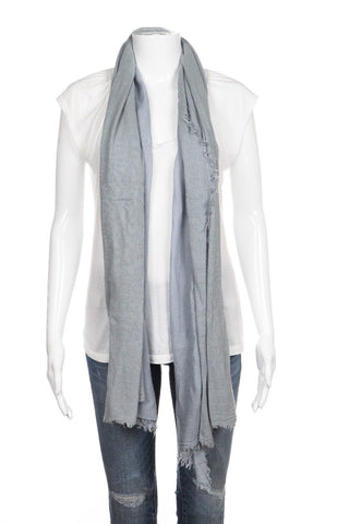 NARDI & TAGLIAFERRI Blue Gray Scarf Shawl Frayed Edge