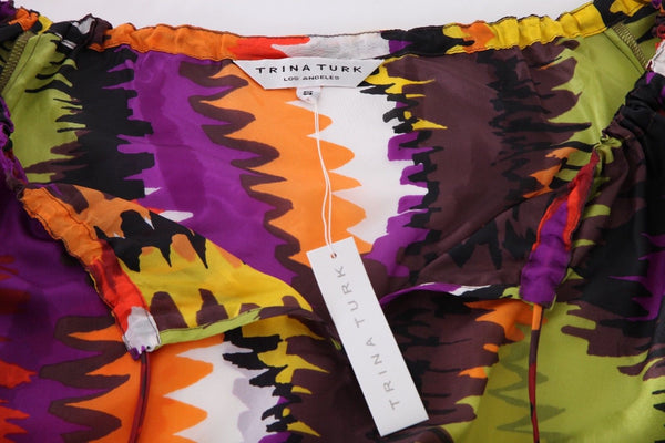 TRINA TURK Silk Abstract Print Blouse Size S (new)
