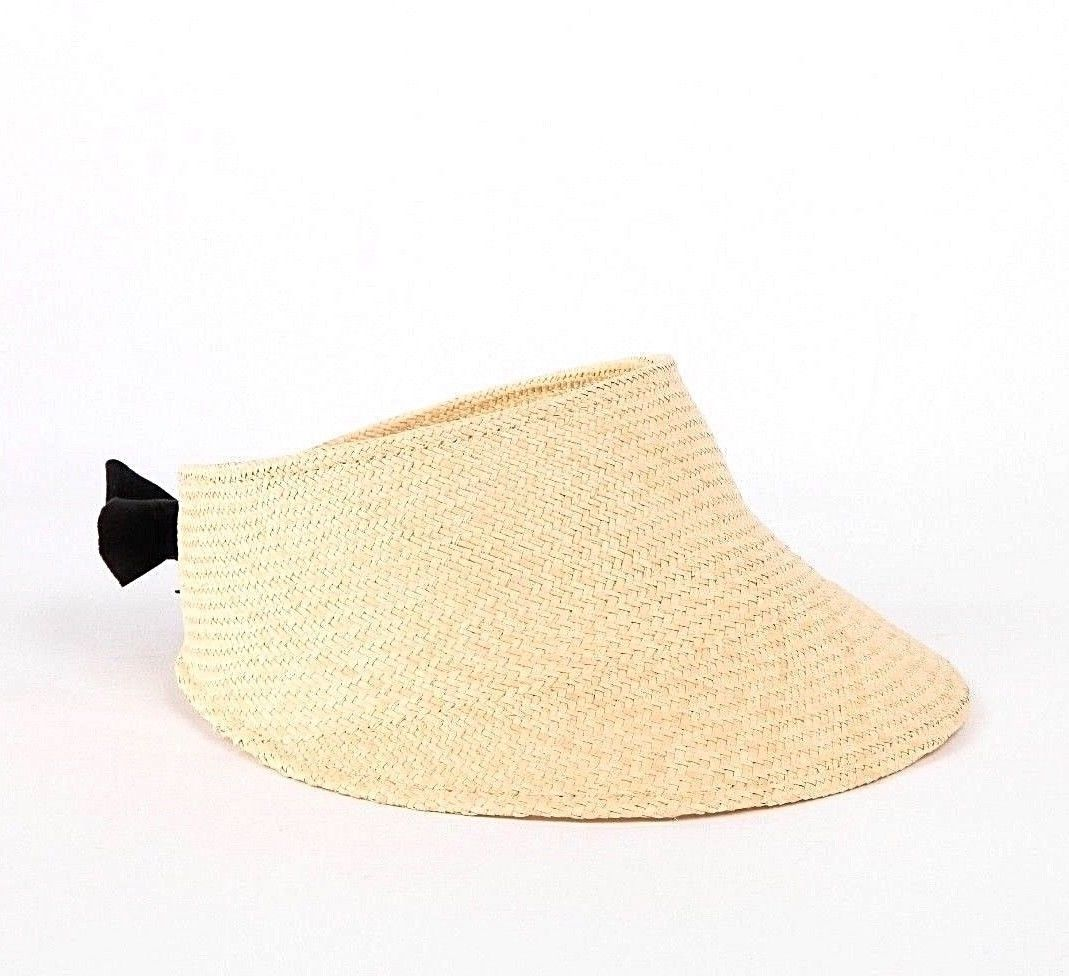 JANESSA LEONE Juhl Straw Visor With Black Leather Tie