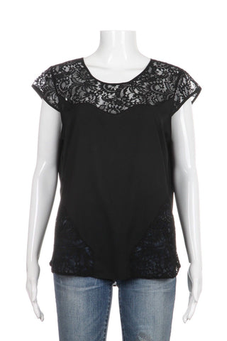 ROBERT RODRIGUEZ Black Lace Short Sleeve Top Blouse Size M