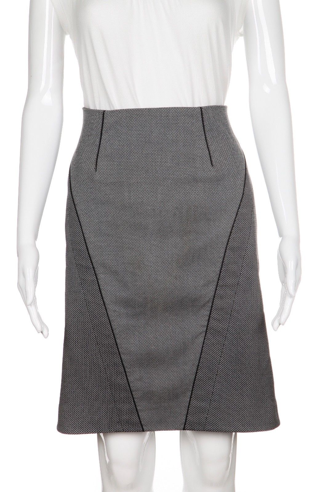ZAC POSEN Gray Black Pencil Skirt Size 8