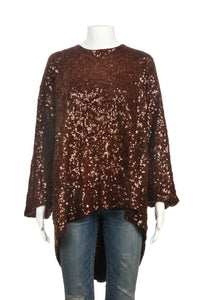 DONNA KARAN Sequin Embellished Wool Blouse Size M