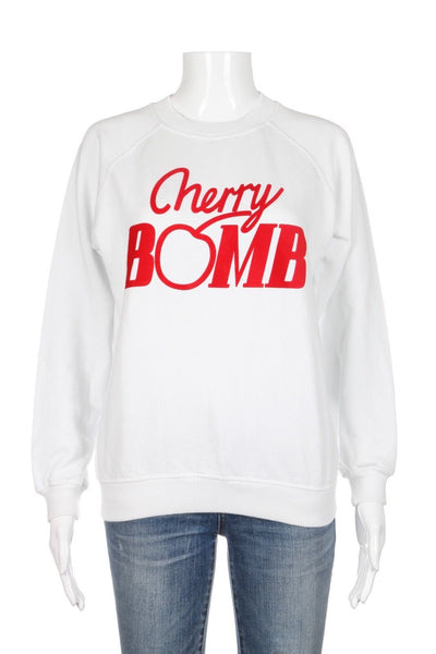 Ganni White Cherry Bomb Sweatshirt Sweater