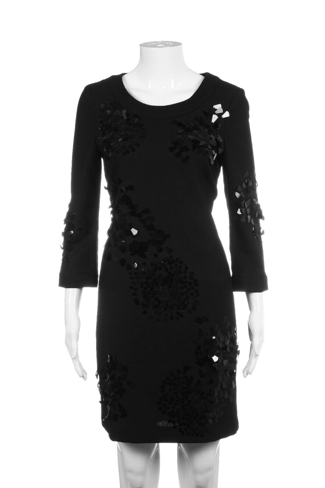 TORY BURCH Dress Wool Black Sequin Appliqué Size 2