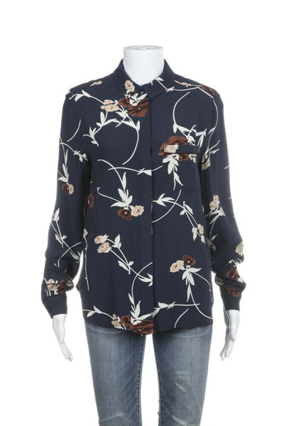 Blue Floral Long Sleeve Button Front Shirt Size DK34 (S)
