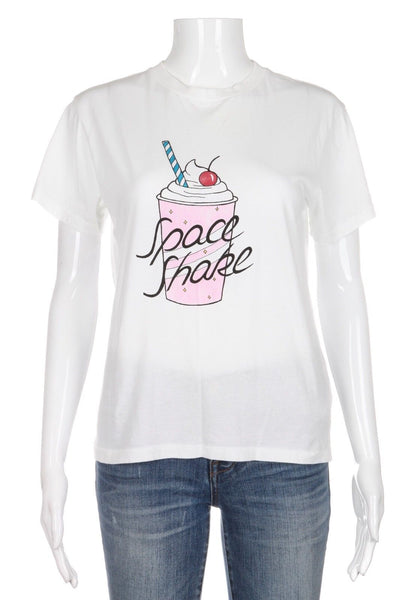 GANNI White Space Shake Graphic Short Sleeve Tee Top Size S