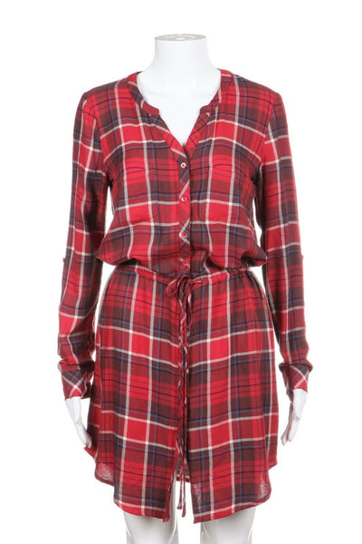 SOFT JOIE Blouson Blue Red Plaid Dress Size XS