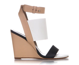 VINCE Color Blocking Leather Wedge Sandals Heels Beige White Black Size 7