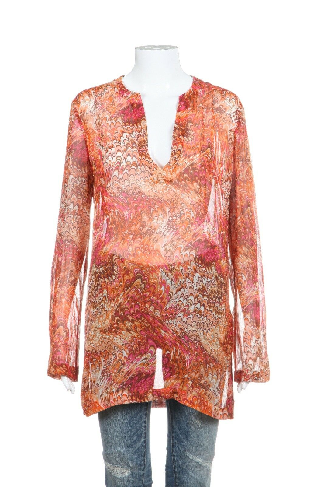 CELINE Sheer Blouse 100% Silk Orange Pink Abstract Print Top Size FR40