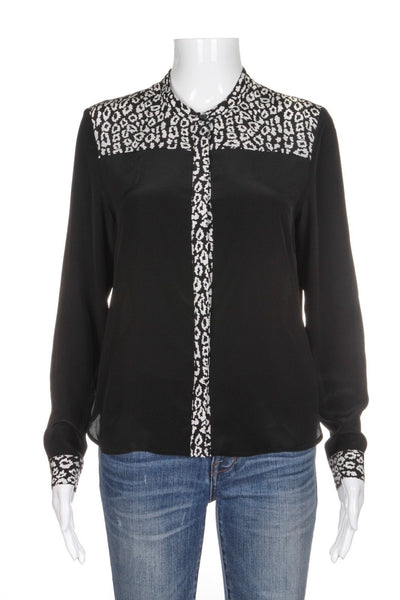 THE KOOPLES 100% Silk Black White Print Button Down Blouse Top