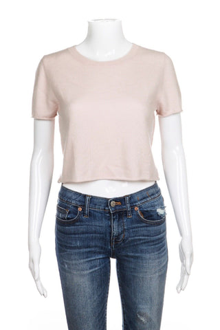 THEPERFEXT 100% Cashmere Crop Top Pale Pink Tee Size XS