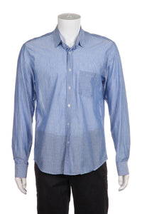 STEVEN ALAN Blue Striped Cotton Button Down Shirt Size L