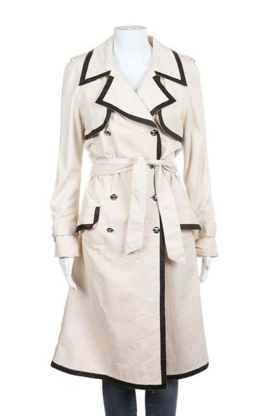 White Lambskin Leather Trench Coat Black Trim Size 36 (S)