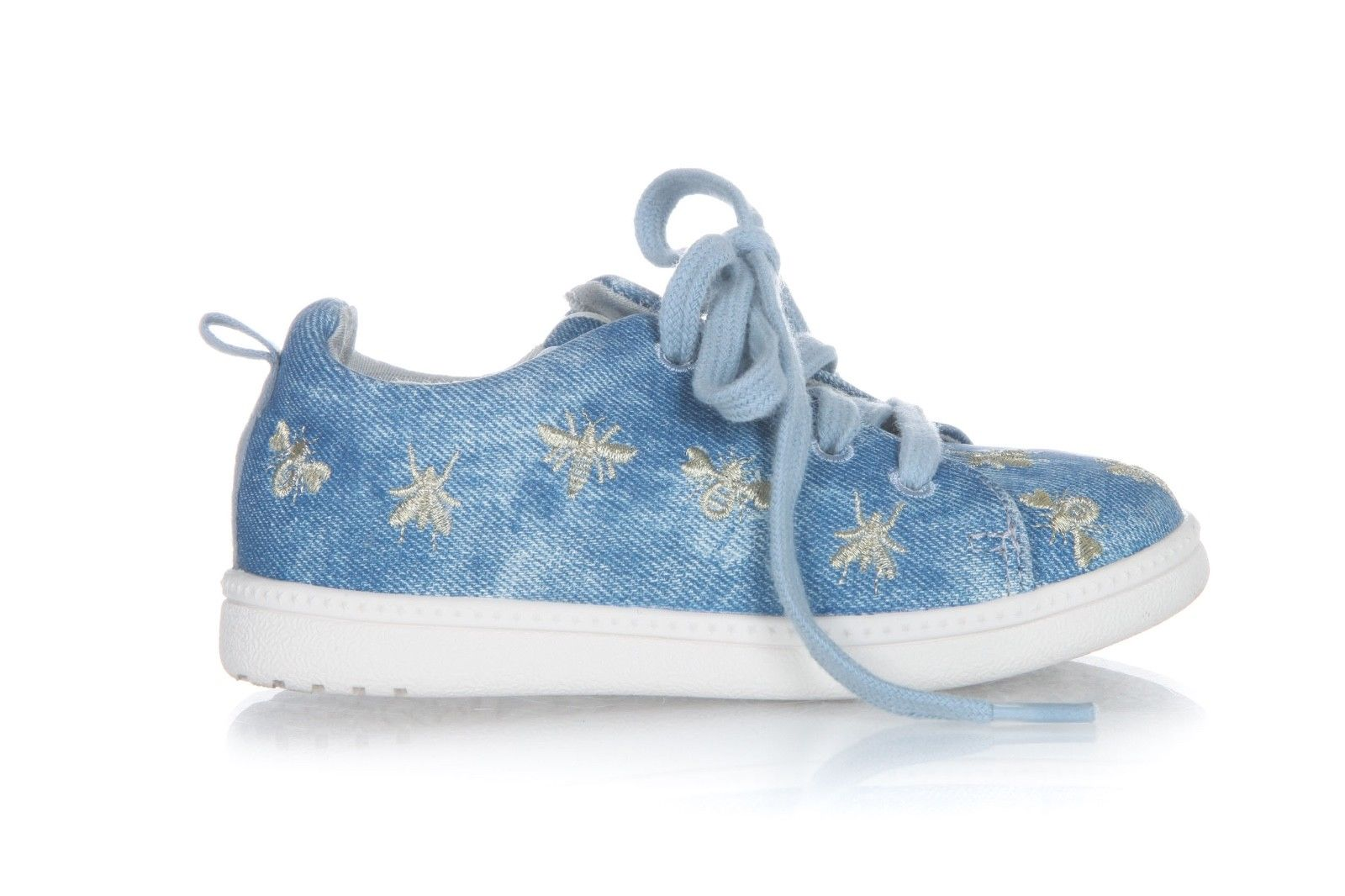 ZARA Baby Denim Blue Lace Up Zip Sneakers Bugs Print Size 23 (6.5)
