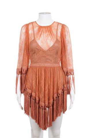 ALICE MCCALL Burnt Orange Mini Fringe Dress Size 0