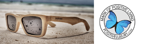 Mark of positive living award for panda all wood bamboo sunglasses