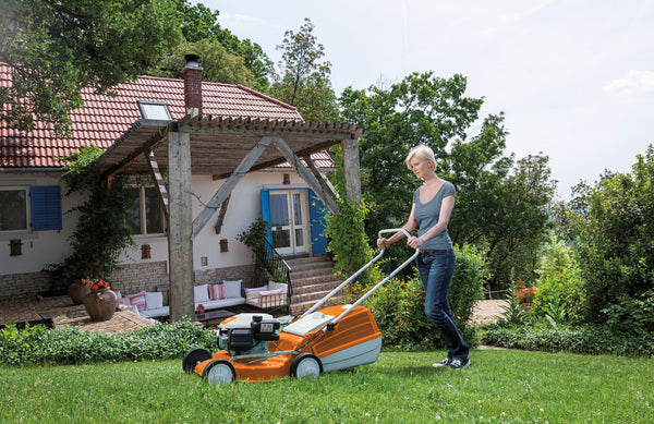 Mowing lawn with RM 248 mower