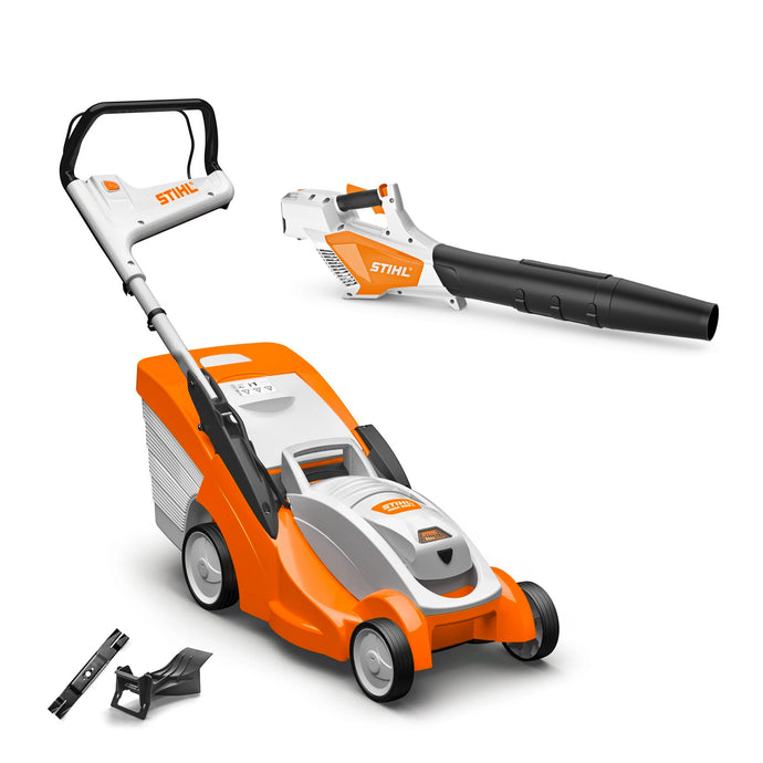 The Autumn Bundle: RMA 339 C Lawn Mower, Mulching Kit & BGA 57 Leaf Blower