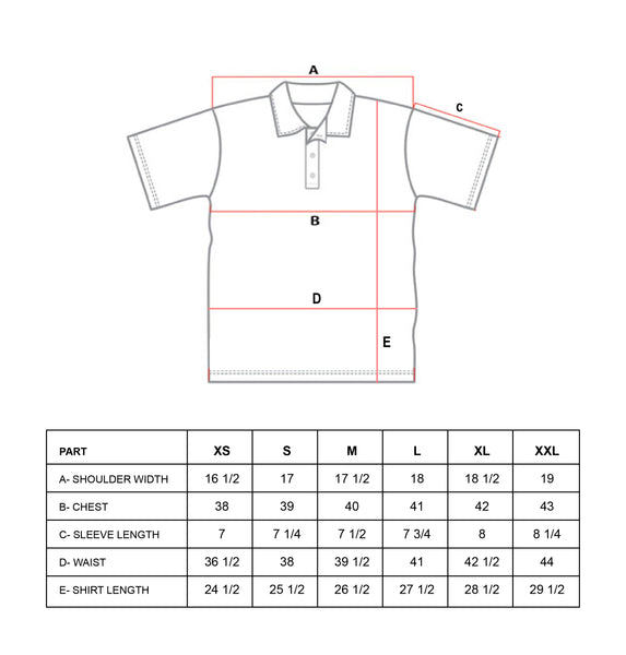 Size Guide - Polo T-Shirt
