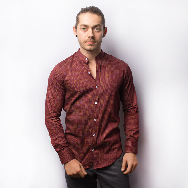MAROON PRINT LONG SLEEVE SHIRT