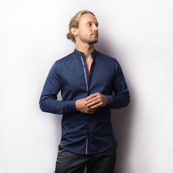 NAVY BLUE SHIRT WITH CONTRAST TWILL TAPE