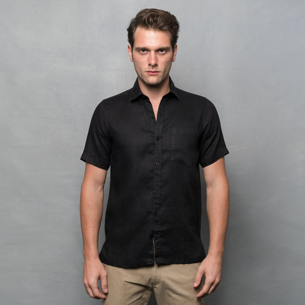 BLACK SHORT SLEEVE LINEN SHIRT