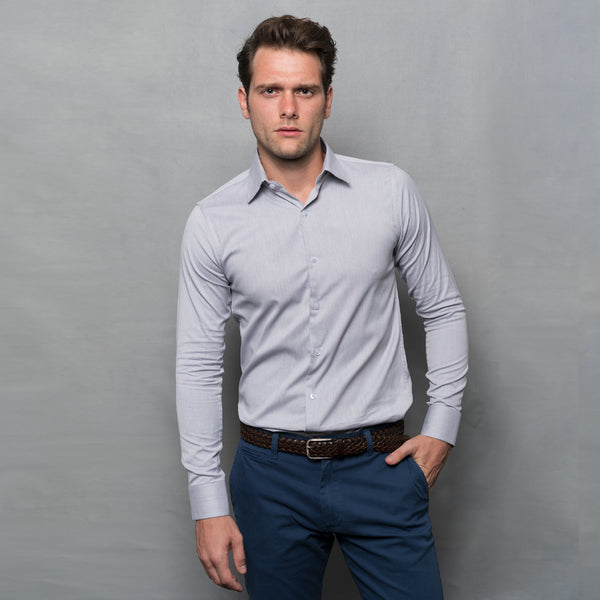 GREY OXFORD LONG SLEEVE SHIRT