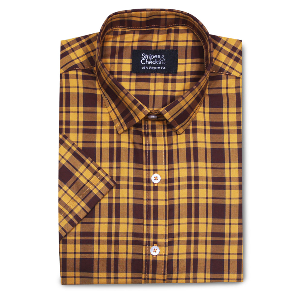 Yellow and Brown Gingham Short Sleeve Shirt