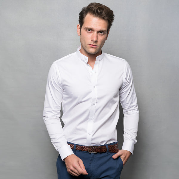 WHITE NEHRU COLLAR LONG SLEEVE SHIRT