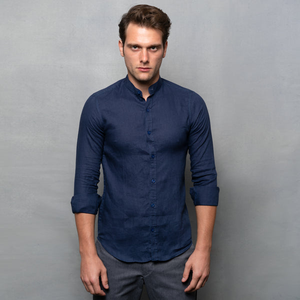 DARK BLUE NEHRU LONG SLEEVE LINEN SHIRT