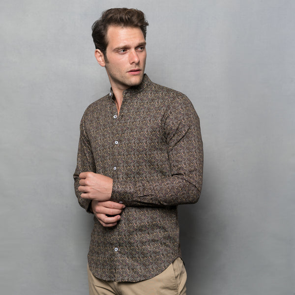 DARK BROWN PAISLEY PRINT LONG SLEEVE SHIRT