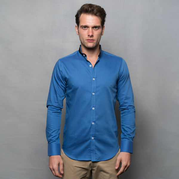 BLUE DOUBLE NEHRU CONTRAST COLLAR SHIRT