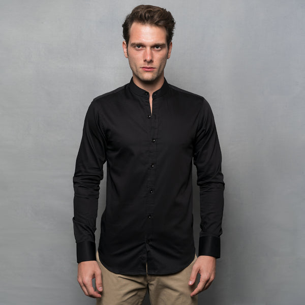 BLACK NEHRU COLLAR LONG SLEEVE SHIRT